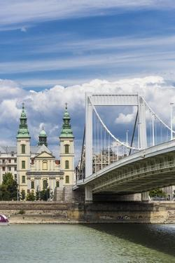 The Elisabeth Bridge, the Inner-City Parish Church (Belvarosi Plebania Templom) and the River Danub by Massimo Borchi
