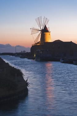 Windmill and Saltworks at Sunset, Marsala, Sicily, Italy by Massimo Borchi