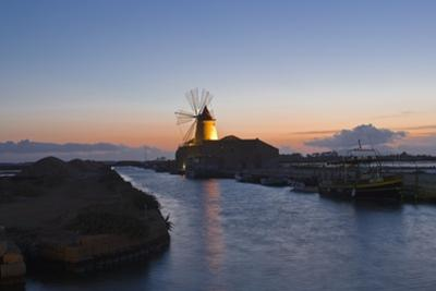 Windmill and Saltworks at Sunset, Marsala, Sicily, Italy