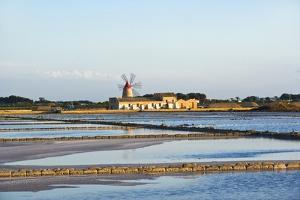 Windmill and Saltworks, Marsala, Sicily, Italy by Massimo Borchi