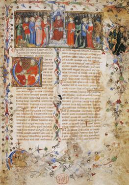 Petrarch on Throne Surrounded by Characters by Master of Latin Codex