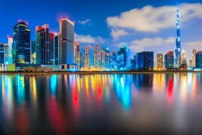 Dubai Skyline at Dusk, Dubai. by MasterLu