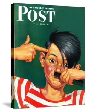 """Boy Mimicking Hitler,"" Saturday Evening Post Cover, January 23, 1943 by Mat Kauten"