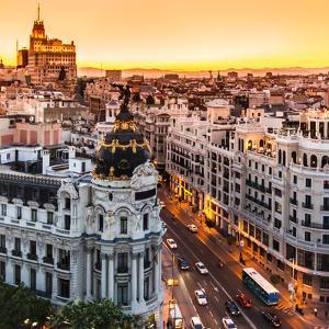 Panoramic Aerial View of Gran Via, Main Shopping Street in Madrid, Capital of Spain, Europe. by Matej Kastelic