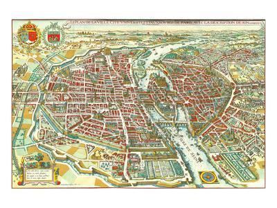 Merian map of Paris 1615