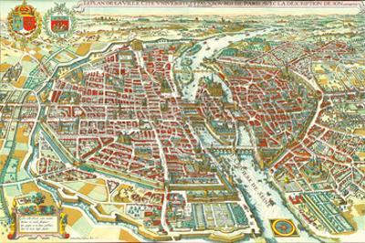 Merian map of Paris 1615 by Matheus Merian