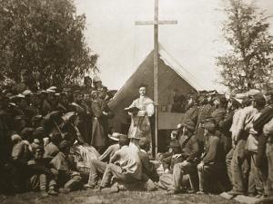 Father Thomas H. Mooney Leading Sunday Mass, 69th New York Infantry Regiment, 1861 by Mathew Brady