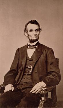 Portrait of Abraham Lincoln (1809-65) (B/W Photo) by Mathew Brady