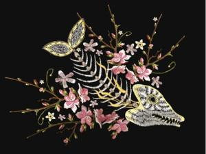 Embroidery Fish Bone and Blossoming Cherryflowers, Gothic Art Background. Embroidery Skeleton of Fi by matrioshka