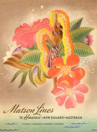 Matson Lines to Hawaii, Women with Lei