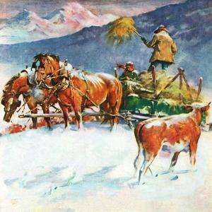 """""""Feeding Herd in Winter,""""March 1, 1945 by Matt Clark"""