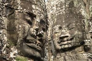 Cambodia, Angkor Wat. Angkor Thom, Bayon. Carved Faces of Lokesvara by Matt Freedman