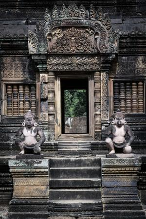 Cambodia, Angkor Wat. Banteay Srei Temple, Monkey Statues and Doorway