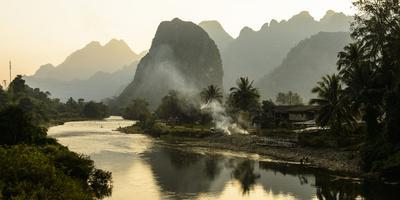 Laos, Vang Vieng. River Scene
