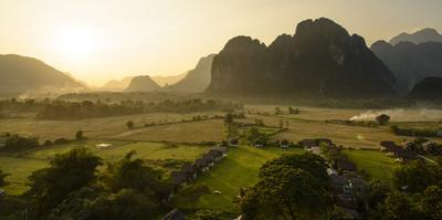 Laos, Vang Vieng. Sunset View from Hot Air Balloon by Matt Freedman