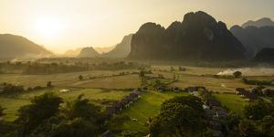 Laos, Vang Vieng. Sunset View from Hot Air Balloon by Matt Freedman