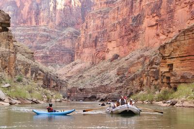 Rafters and Cliffs, Grand Canyon National Park, Arizona, USA