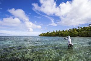 A Male Angler Making Casts on a Saltwater Flat at Alphonse Island, Seychelles by Matt Jones