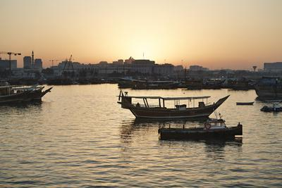 The Old Part of Doha and the Dhows Moored in the Harbour