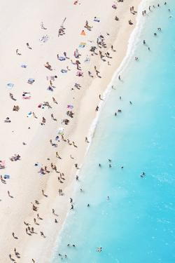 Aerial view of beach in summer with people. Zakynthos, Greek Islands, Greece by Matteo Colombo