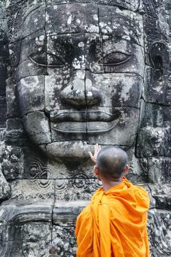 Cambodia, Siem Reap, Angkor Wat Complex. Monks Inside Bayon Temple (Mr) by Matteo Colombo