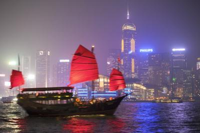 Hong Kong, China. Traditional Chinese Junk Sail in Victoria Harbour by Matteo Colombo