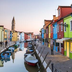Italy, Veneto, Venice, Burano. Sunset in the Town by Matteo Colombo