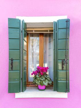 Italy, Veneto, Venice, Burano. Typical Window on a Colorful House by Matteo Colombo