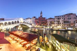 Italy, Veneto, Venice. Rialto Bridge at Dusk, High Angle View by Matteo Colombo