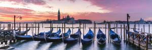 Italy, Veneto, Venice. Row of Gondolas Moored at Sunrise on Riva Degli Schiavoni by Matteo Colombo
