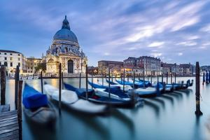 Italy, Veneto, Venice. Santa Maria Della Salute Church on the Grand Canal, at Sunset by Matteo Colombo