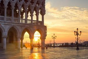 Italy, Veneto, Venice. Sunrise over Piazzetta San Marco and Doges Palace by Matteo Colombo