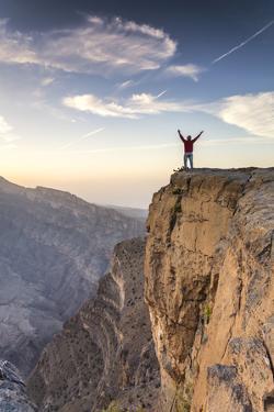 Oman, Wadi Ghul, Jebel Shams. the Grand Canyon of Oman, Tourist on the Edge by Matteo Colombo