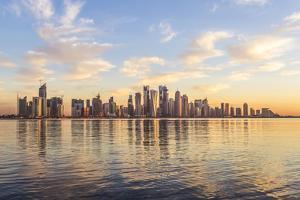 Qatar, Doha. Cityscape at Sunrise from the Corniche by Matteo Colombo