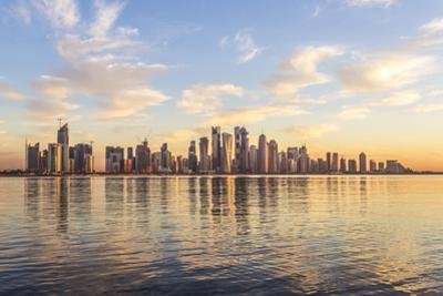 Qatar, Doha. Cityscape at Sunrise from the Corniche by Matteo Colombo