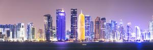 Qatar, Doha. Skyline with Skyscrapers, at Night from the Corniche by Matteo Colombo