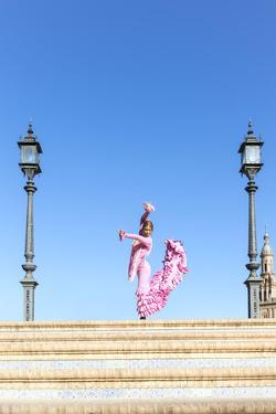 Spain, Andalusia, Seville. Flamenco Dancer Performing in Plaza De Espana by Matteo Colombo