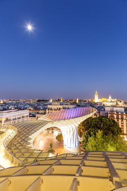 Spain, Andalusia, Seville. Metropol Parasol Structure and City at Dusk by Matteo Colombo