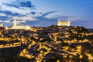 Spain, Castile–La Mancha, Toledo. City with the Cathedral and the Alcazar at Dusk by Matteo Colombo