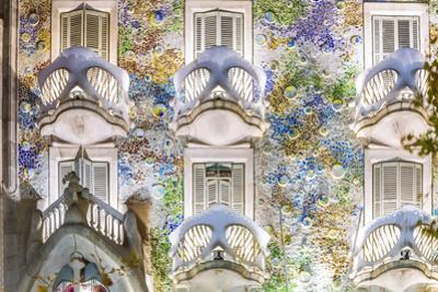 Spain, Catalonia, Barcelona. Casa Batllo, Exterior View at Dusk