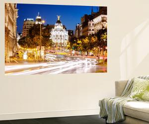 Spain, Madrid. Street View with Metropolis Building and Light Trails by Matteo Colombo