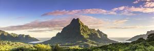 Sunrise over Mt Rotui, Opunohu Bay and Cook's Bay, Moorea, French Polynesia by Matteo Colombo