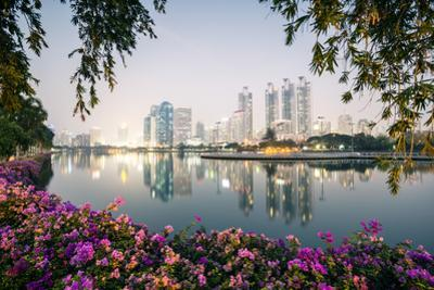 Thailand, Bangkok. View of the City from Benjakiti Park at Dusk by Matteo Colombo