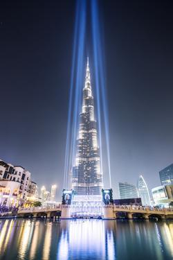 United Arab Emirates, Dubai. Burj Khalifa at Dusk, with Light Show by Matteo Colombo