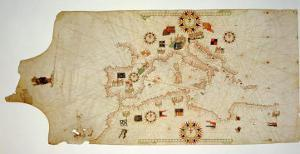 Miniature Nautical Map of the Central Mediterranean, 1560 by Matteo Prunes