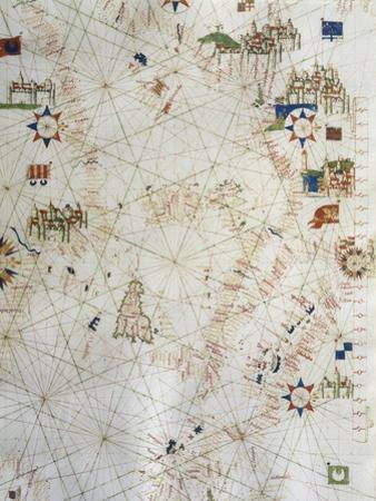Detail of Map of Italy from Marine Chart of Mediterranean, 1571