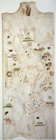 Detail of Marine Chart of Mediterranean, 1571