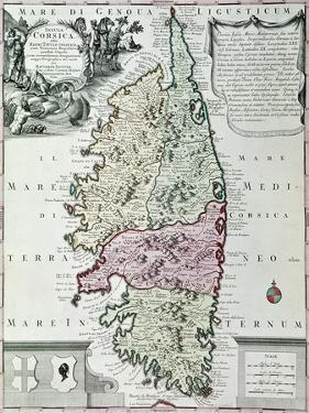 Map of Corsica by Matthaus Seutter