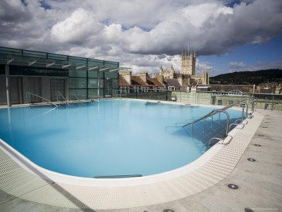 Roof Top Pool in New Royal Bath, Thermae Bath Spa, Bath, Avon, England, United Kingdom