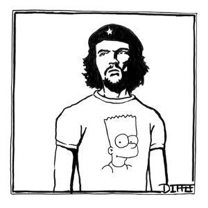Che Guevara wearing a Bart Simpson T-shirt. - New Yorker Cartoon by Matthew Diffee